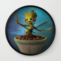 groot Wall Clocks featuring Groot! by Drogyn