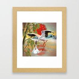 Stork and Baby Framed Art Print
