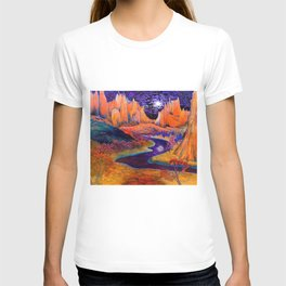 'African Violet Skies' mountains and Serengeti prairie landscape painting by Clark Thomas Carlton T-shirt