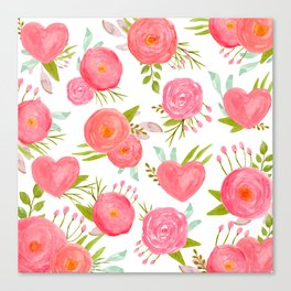 watercolor pink hearts Canvas Print