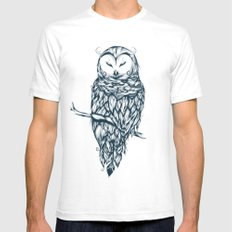 Snow Owl White SMALL Mens Fitted Tee