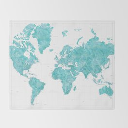 Highly detailed watercolor world map in aquamarine Throw Blanket