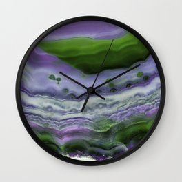 Purple and Green Agate Wall Clock