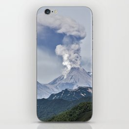 Summer mountain landscape, scenery erupting active volcano on Kamchatka Peninsula iPhone Skin