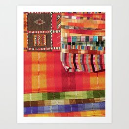 V27 Multi Colored Traditional Moroccan Lovely Textile Texture. Art Print