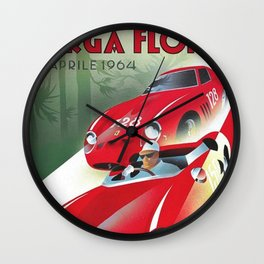 Vintage Italian Roadster Racing Targa Florio Sports Car Poster Wall Clock