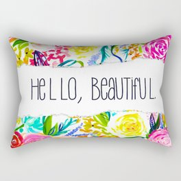 Neon Summer Floral + Hello Beautiful Rectangular Pillow