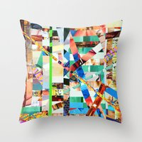 bianca green Throw Pillows featuring Bianca (stripes 22) by Wayne Edson Bryan