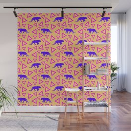 Wild African walking purple lion silhouettes and abstract triangle shapes. Stylish classy warm sunny pastel peach orange retro vintage geometric animal nature pattern. Wall Mural