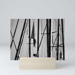 Yacht Masts Marina Black and White Photography Mini Art Print