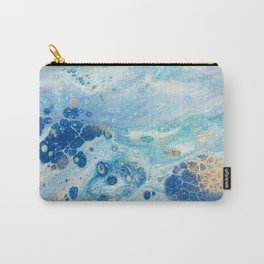 Under the Sea - Blue Abstract Acrylic Pour Art Carry-All Pouch