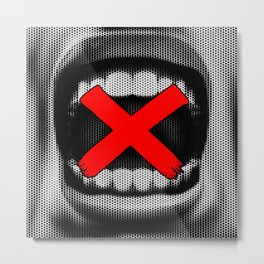 Code of Silence / Halftone portrait of silenced shouting CG man Metal Print
