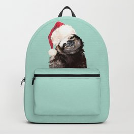 Christmas Sloth in Green Backpack