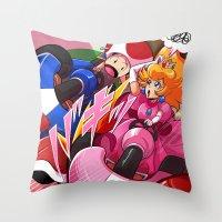 mario kart Throw Pillows featuring MARIO KART - YOSHI VALLEY by D.J. Kirkland