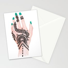 Modern watercolor hand  floral henna tattoo turquoise nails Stationery Cards