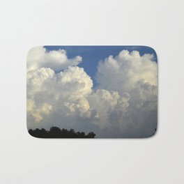 Billowing White Clouds Brilliant Blue Sky Bath Mat