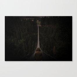 Hanging bridge over forest Canvas Print