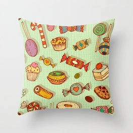candy and pastries Throw Pillow