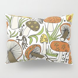 Hand-drawn Mushrooms Pillow Sham