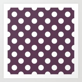 Dark byzantium - violet - White Polka Dots - Pois Pattern Art Print
