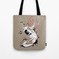 okami Tote Bags featuring OKAMI RIBBONS by Rubis Firenos