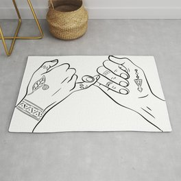 Pinky swear temporary tattooed hands, hands outline tattoo decal sticker, best friends iluustration Rug