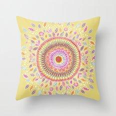Yellow Sunflower Mandala Throw Pillow