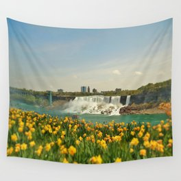 Tulips By The Falls Wall Tapestry