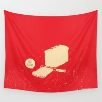 bread Wall Tapestries featuring Bread & Knife by Safwat Saleem