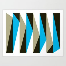 Blue Geometric Triangle Pattern Art Print