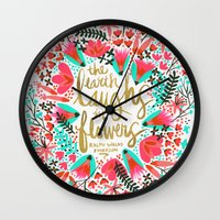 earth Wall Clocks featuring The Earth Laughs in Flowers – Pink & Gold by Cat Coquillette