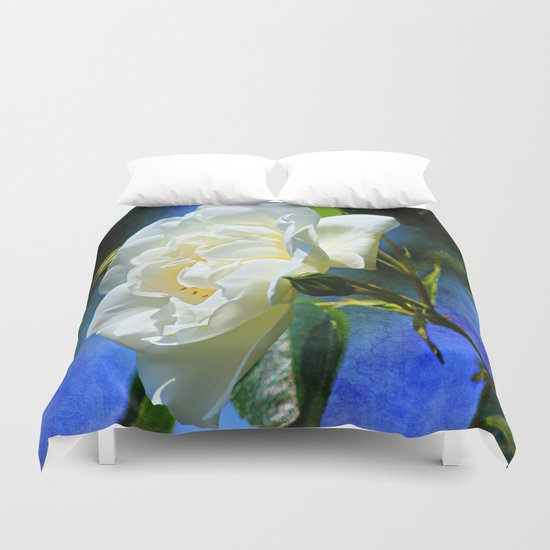 Creamy White Rose and Buds Duvet Cover