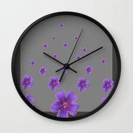 PURPLE FLOWERS COLLAGE CHARCOAL GREY Wall Clock