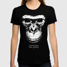 chimpanzee monkey can we save the world T-shirt
