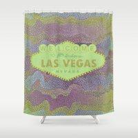 las vegas Shower Curtains featuring Zig Zag LAS VEGAS by MehrFarbeimLeben
