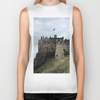 edinburgh Biker Tanks featuring Edinburgh Castle by RMK Creative