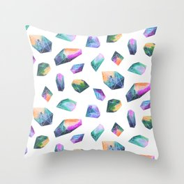 Geometric Crystals Amethyst Geode Rocks Throw Pillow