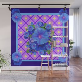 Blue & Purple Morning Glories Pattern Art Wall Mural