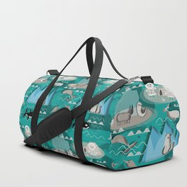 Arctic animals teal Duffle Bag