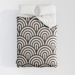 black & white geometric pattern mid century modern fish scales art deco pattern Comforters
