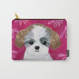 Puppy Painting, Bichon Shih Tzu, Teddy Bear Puppy, Dog Art, Kid's Room Decor, Pink, Flowers Carry-All Pouch