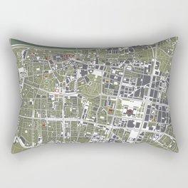 Warsaw city map engraving Rectangular Pillow