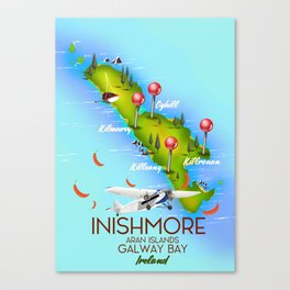 Inishmore Aran Islands Galway Bay Ireland travel poster Canvas Print