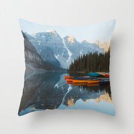 Moraine Lake Canoes Throw Pillow