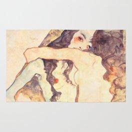 """Egon Schiele """"Two women embracing"""" Rug"""