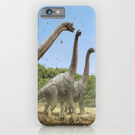Dinosaurs walking on the river iPhone Case