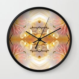 Dahlias and Orchids flowers in reflect Wall Clock