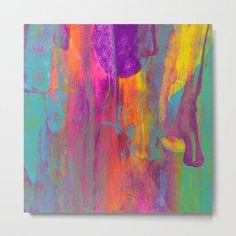 Abstract Rainbow Sunset Painting Metal Print