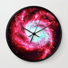 Spiral Galaxy Red Aqua Wall Clock