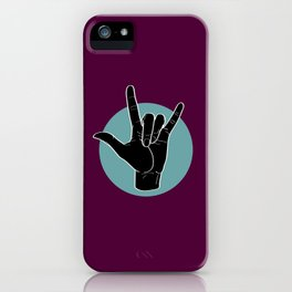 ILY - I Love You - Sign Language - Black on Green Blue 08 iPhone Case